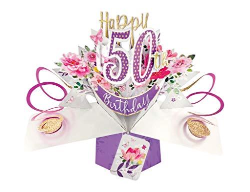Second Nature Pop-Up-Grußkarte zum 50. Geburtstag, Motiv: Blumen
