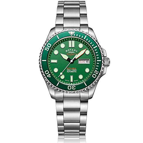 Reloj automático para hombre con pulsera de acero inoxidable plateado y esfera verde «Hulk» de Rotary Super 7 Scuba (S7S003B)