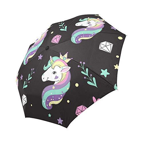 Windproof Travel Folding Umbrella Auto Open and Close for Women Men Unicorn Diamonds, Black