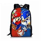 XINBANG Mochila Escolar Super Mario Sonic 12 Pulgadas Mario Bros Sonic niños Mochilas Escolares Mochila ortopédica niños Escolares niñas Mochila Infantil Dibujos Animados