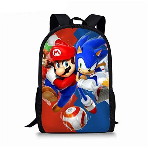 XINBANG Mochila Escolar Super Mario Sonic 12 Pulgadas Bros niños Mochilas Escolares