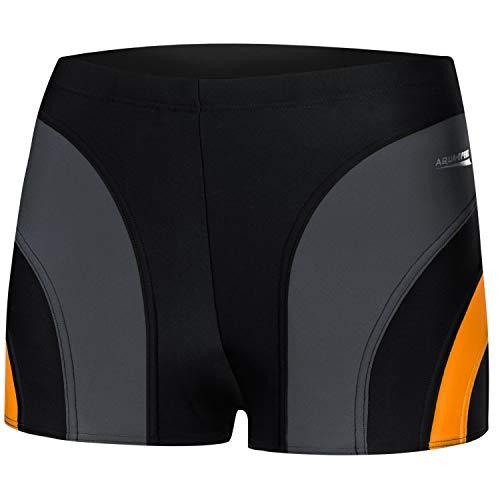 Aqua Speed Sasha Uomo Costume da Bagno Corto Elastico Stretto Boxershorts | Calzoncini da Bagno | S-XXXL | UV-Protection | M, 310 / Black Gray Orange