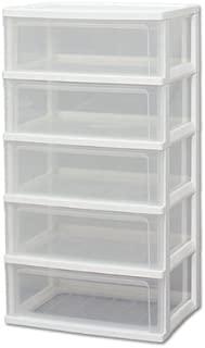 アイリスオーヤマ チェスト ワイド 5段 幅54×奥行40×高さ102cm ホワイト / クリア 白 プラスチック W-545