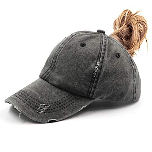 Ponytail Vintage Cap Dad Hat Low Profile Unconstructed Messy High Bun Hat Ponycaps Distressed Black