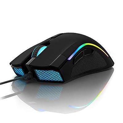 DELUX Gaming Mouse 16.8 Million RGB Color 24000 DPI(Max) Programmable Ergonomic Mouse for PC Laptop 7 Buttons Unique Fire Button Design