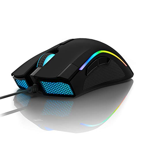 DELUX Gaming Maus 16,8 Millionen RGB Farbe 24000 DPI (max) Programmierbare ergonomische Maus für PC Laptop 7 Tasten Einzigartiges Fire Button Design
