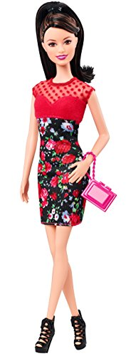 Barbie Mattel CFG15 - Raquelle Puppe mit Blumenprint Kleid, rot/schwarz