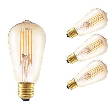 HZZymj-6W E26/E27 Ampoules à Filament LED ST58 4 COB 550 lm Ambre Gradable / Décorative AC 100-240 V 4 pièces