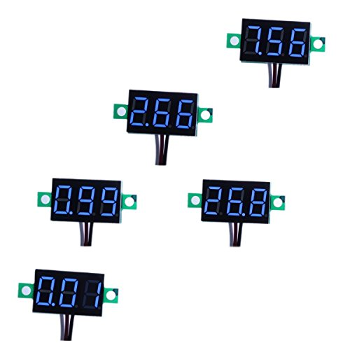 "bayite Pack of 5 Three-Wire Calibratable DC 0~30V Blue Digital Mini Voltmeter Gauge Tester Mount Car Motorcycle Battery Monitor Volt Voltage Meter 0.36"" Blue LED Display Panel"