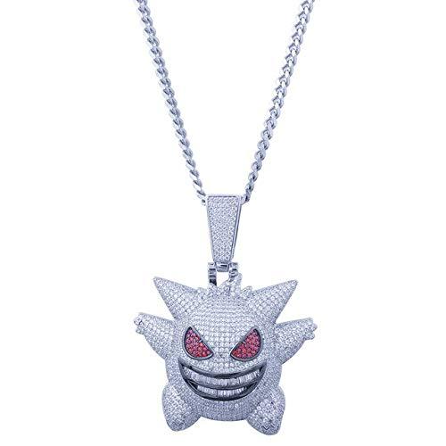 Style collier pour hommes collier rétro Pokemon pendentif cubique Zircon cuivre collier glace Out chaîne hommes cadeauargent
