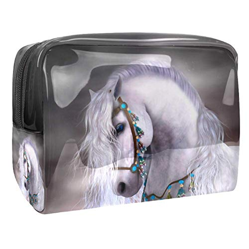 Bolsa de Maquillaje para niños Hermoso Caballo Blanco Accesorio de Viaje Neceser Pequeño Bolsas de Aseo Impermeable Cosmético Organizadores de Viaje 18.5x7.5x13cm