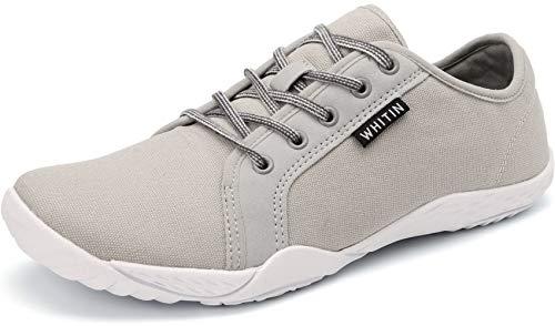 WHITIN Herren Canvas Sneaker Barfussschuhe Traillaufschuh Barfuss Schuhe Barfußschuhe Barfuß Barfußschuh Minimalistische Trekkingschuhe Laufschuhe für Männer Trainer Turnschuhe Grau gr 45 EU