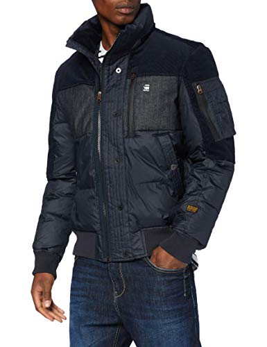 G-STAR RAW Mens Denim Mix Quilted Puffer Jacket, Mazarine Blue B958-4213, X-Large