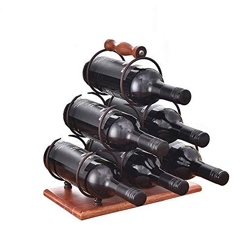 Ghpter - Botellero para 6 Botellas de Vino, Metal, marrón, 30x16x32.5cm