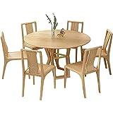 HMBB Juego de mesa de comedor de 7 piezas Conjunto de comedor con altura de madera Mesa de cocina redonda, 130x130x75cm, Nuez, Madera (Color : Wood)