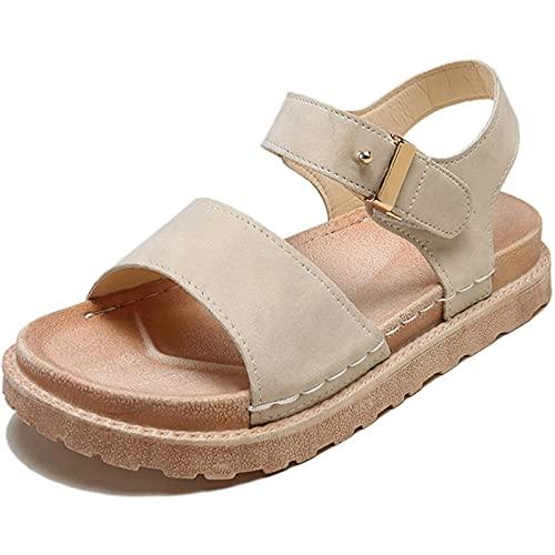 HXHSYZM Sandalias Mujeres Moda Verano Fondo Grueso Talón Pendiente Sandalias Casuales Zapatos De Playa Sandalias,Beige,36