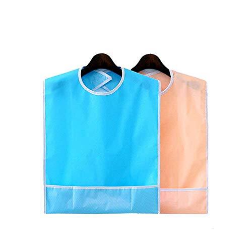 2 piezas baberos impermeables para adultos protector reutilizable para la hora de la comida ropa lavable delantal de ayuda por discapacidad para derrames (azul cielo + naranja rosa)