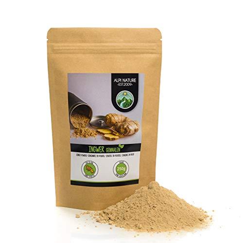 Polvere di zenzero (250g), zenzero macinato, 100% naturale, essiccato delicatamente e macinato, senza additivi, vegano, radici di zenzero