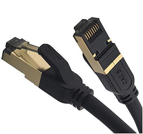 REULIN Cable Ethernet Plug & Play, Cable LAN Cat8, Cable de Red RJ45 TP 40G-2 GHz, para Conectar el Módem Router Hub con Smart TV, Ethernet Splitter, Gigabit Switch, Gaming, Laptop, Xbox,