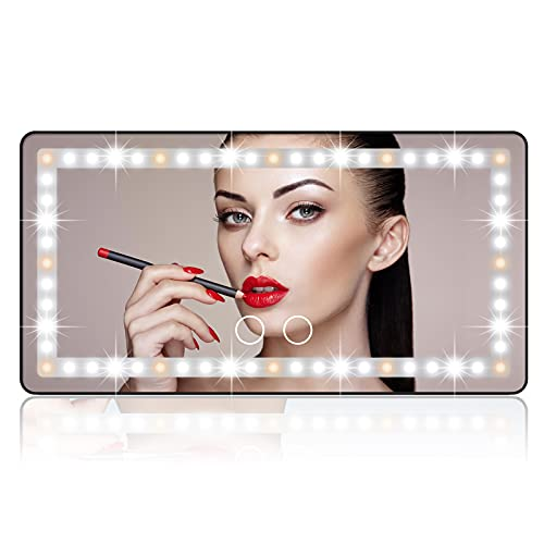 Car Sun Visor Vanity Mirror, Rechargeable Makeup Mirror with 3 Light Modes & 60LEDs - Dimmable Clip-on Rear View Sun-Shading Cosmetic Mirror with Touch on Screen, Universal for Car Truck SUV (Black)