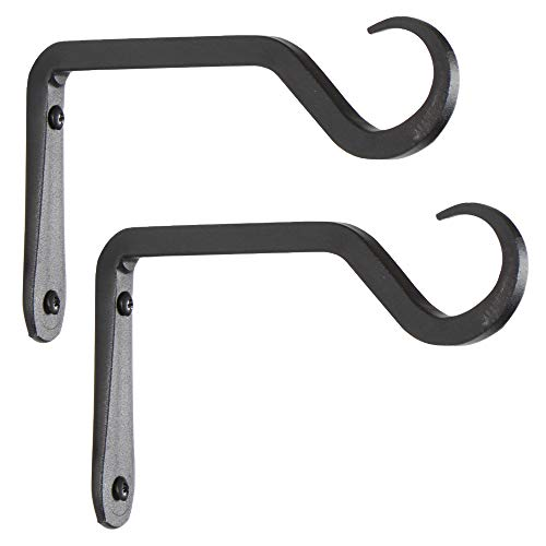 Premium Hand Forged Straight Hook, Decorative Wall Hook Hanging Plant Bracket, Upgrade Black, for Lanterns, Planter, Wind Chimes, Bird Feeders, 6 Inch, 2 Pack.