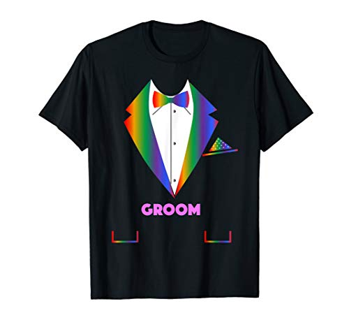LGBTQ Groom Shirt - Tuxedo Rainbow Gay Pride Lesbian Wedding