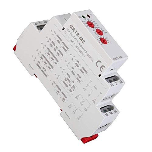 Yaseking Multifuncional Tiempo de retardo del relé, GRT8-M2 10 Funciones de montaje en carril DIN AC/DC 12V-240V for el hogar inteligente