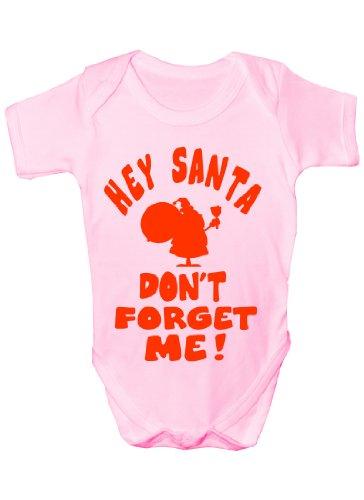 Hey Santa n'oubliez pas Me Funny Body bébé Cadeau de Noël Fille/Garçon sans manches pour bébés - Rose -