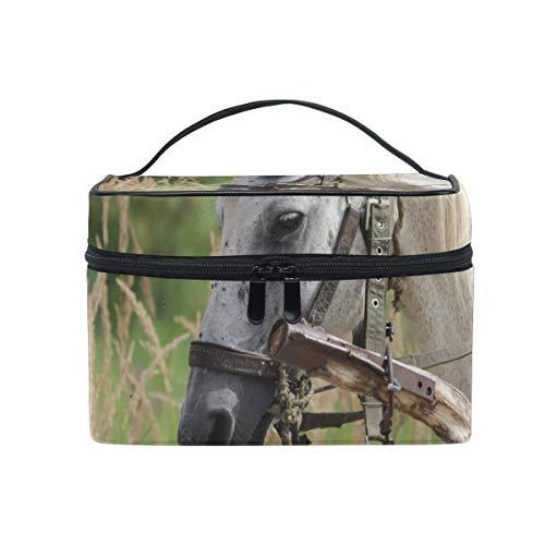 Bolsa de maquillaje de viaje con diseño de caballo Mare Animal Cosméticos Organizador para mujeres y niñas, bolsa de aseo portátil de almacenamiento cosmético de lona