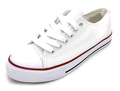 Zapatillas de Lona Mujer Blanco Negro Bambas Blancas Lona Puntera Goma Loneta Blanca 37