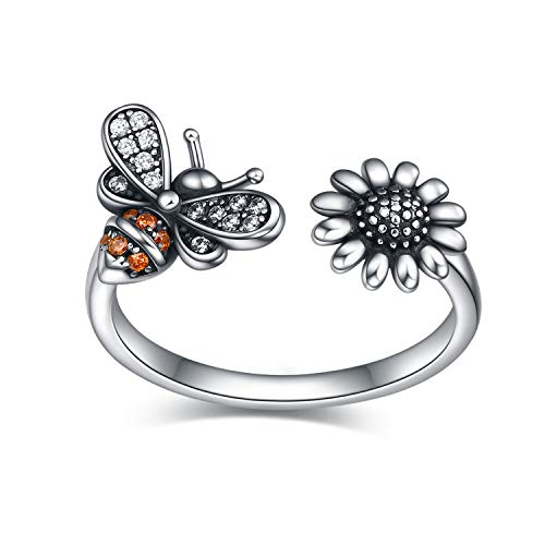 VENACOLY Adjustable Bee Ring Sterling Silver Bee-live You Are My Sunshine Sunflower Thumb Rings For Women Ladies (Bee ring)