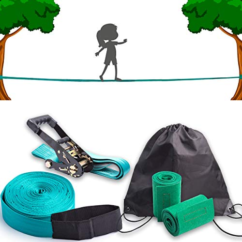 Slackline für Gleichgewichtstraining 50 'mit Hochleistungs-Industrieratsche, Baumschutzband und Tragetasche - Slack Lines für den Garten - Ninja Line Support Slackline -Geschenkset für Kinder (Türkis)