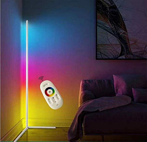 JINGBO LED Stehlampe Dimmbar mit Fernbedienung 24W Stehleuchte Leselicht für Wohnzimmer Schlafzimmer Farbwechsel Lichtsaeule RGB Farbtemperaturen und Helligkeit Stufenlos Dimmbar,Weiß