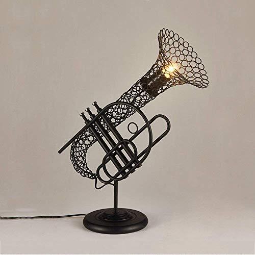 WRISCG Lámpara Escritorio Loft lámpara de Mesa Retro Industria del saxofón lámpara de Mesa Instrumento Musical Hermoso Ambiente Restaurante café decoración Conjunto