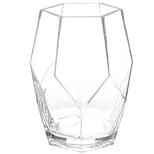 MyGift 8-Inch Geometric Clear Glass Flower Vase, Wedding Centerpiece Decor