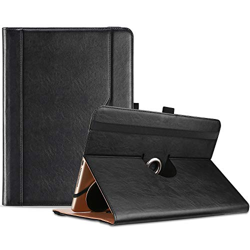 "ProCase 9""-10.1"" Inch Universal Tablet Case, Protective Cover Stand Folio Case for 9 10 10.1 Inch Android Touchscreen Tablet, with 360 Degree Rotatable Kickstand and Multiple Viewing Angles -Black"