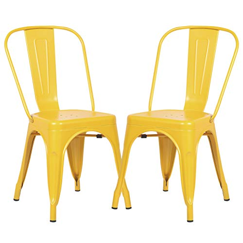 Poly and Bark Trattoria Kitchen and Dining Metal Side Chair in Yellow Set of 2