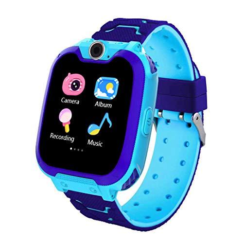 XINGX Reloj Inteligente para Niños Reloj Inteligente para Niños a Prueba de Agua GPS Tracker con Lbs/GPS Reloj Inteligente con 7 Juegos de Rompecabezas Cámara de Música Llamada