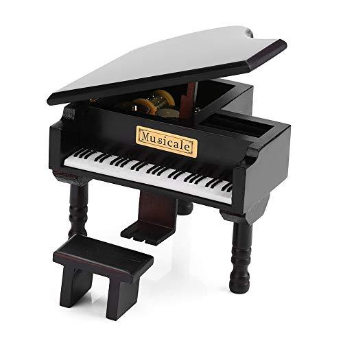 Wal front Boîte à musique en forme de piano avec banc et étui Noir Boîtes à musique Cadeau pour Noël Anniversaire Saint Valentin Melody Château dans le ciel
