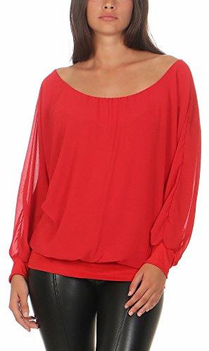 Malito Damen Chiffon Langarm Bluse | Tunika mit weiten Ärmeln | Blusenshirt mit breitem Bund | elegant - schick 6291 (rot)