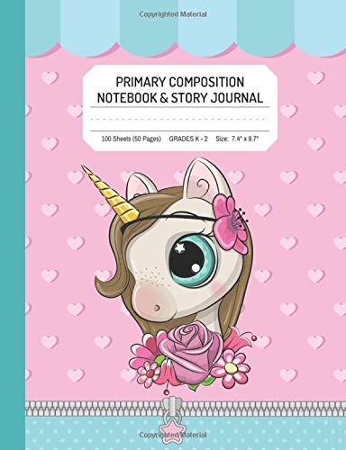"Primary Composition Notebook and Story Journal | Pink Girl Unicorn: Grades K-2 | 100 Lined Sheets | Size 7.4"" x 9.7"" (Cottage Path Press Coloring Activity Books for Kids)"