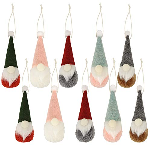 obmwang 10 Pieces Gnome Christmas Ornaments, Swedish Handmade Plush Gnomes Santa Elf Table Ornaments Christmas Tree Hanging Home Decorations Holiday Decor