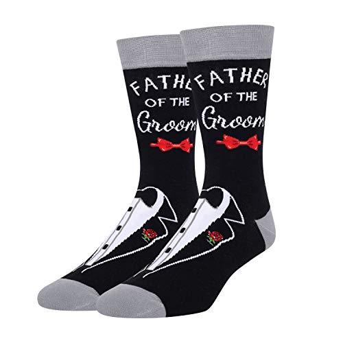 HAPPYPOP Men's Groom Tuxedo Bow Tie Best Groomsmen Dad Socks, Funny Wedding Day Gift