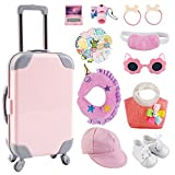 Aniwon 31 PCS Baby Doll Accessories: 18 Inch American Girl Doll Suitcase - Dolls Luggage Travel Set Including Suitcases Sticker Shoes Computer Camera Hat Pillow Sunglasses Handbag for Kids Birthday Party Gift