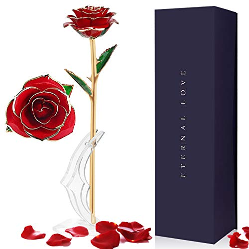 Siebwin Rosa Eterna, Flores Rosa Eterna Chapadas en Oro con Caja de Regalo - Regalos para Mujeres y Madres para el Día de San Valentín, Día de La Madre, Cumpleaños y Aniversario