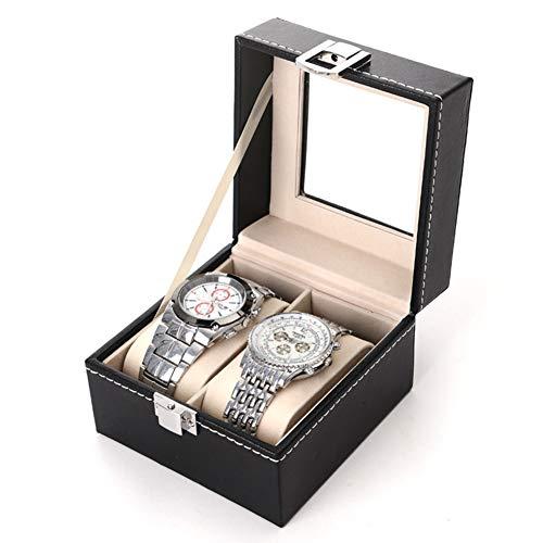 Caja de Relojes con Cerradura con Tapa de Vidrio, Caja Porta Reloj, Estuche Clásico para Relojes con Cojín Removible para Almacenamiento y Exhibición 2 Ranuras Elegante Relojes de Cuero PU Caja