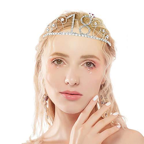 Sue-Supply - Tiara de Corona de cumpleaños para Mujer con Cristales de estrás Plateados para Regalo de cumpleaños o Boda, A, 18