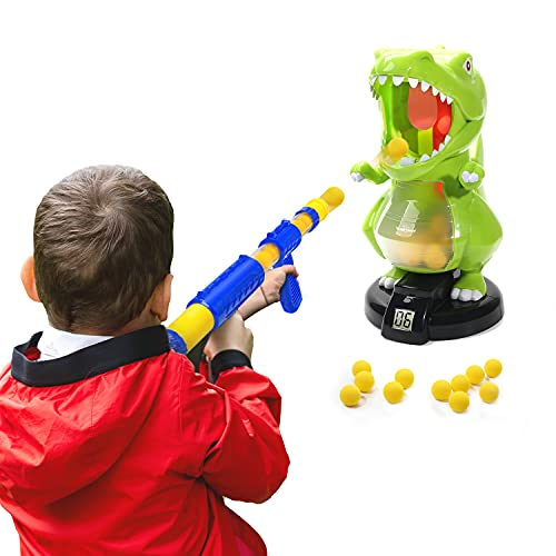 EagleStone Dinosaur Shooting Toys for Boys, Kids Target Shooting Games w/ Air Pump Gun Birthday Party Supplies & LCD Score Record, Sound, 24 Foam Balls Electronic Target Practice Gift for Toddlers