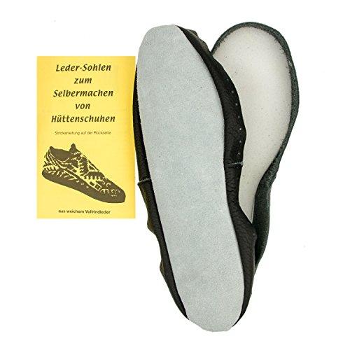 Langlauf Schuhbedarf ® Ledersohlen für Hüttenschuhe DIY Hüttenschuhsohlen mit Strickanleitung Echtleder (46/47)