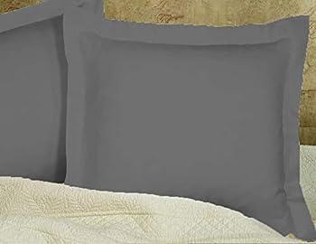 European Square Pillow Shams Set Of 2 Pillowcase Euro Shams 26x26 Dark Grey Pillow Covers Premium 600 Tc European Pillow Shams 100% Egyptian Cotton ,Gorgeous Euro Size Decorative Pillow Cover/Cases